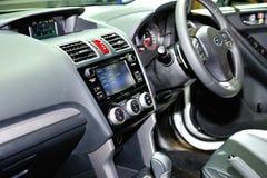 Subaru在新加坡Motorshow期间的汽车显示内部2016年 库存照片