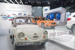 Subaru 360 1969年在LA车展期间的显示 免版税库存照片