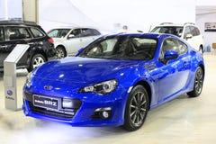 Subaru brz car. Blue subaru brz car exhibited in amoy city, china Royalty Free Stock Image