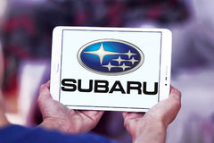 Subaru car logo. Logo of subaru car brand on samsung tablet Stock Image