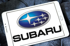 Subaru car logo. Logo of subaru car brand on samsung tablet Royalty Free Stock Photos