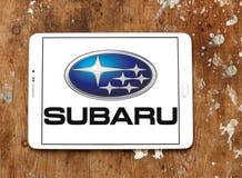 Subaru car logo. Logo of subaru car brand on samsung tablet on wooden background Stock Photo