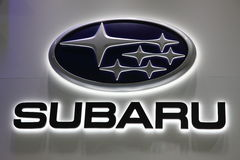 Subaru Company Logo. LEIPZIG, GERMANY - JUNE 1: Subaru Company Logo at the AMI - Auto Mobile International Trade Fair on June 1st, 2014 in Leipzig, Germany Royalty Free Stock Photography