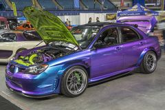 Subaru with custom paint. Front side view of subaru with custom paint in display during the autorama montreal september 16-17 2017 Royalty Free Stock Images