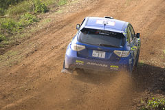 Subaru on dirt track Stock Image