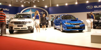 Subaru exhibition corner stock images