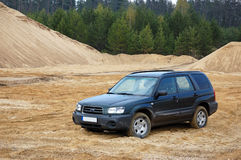 Subaru Forester. Car in sandpit Royalty Free Stock Images