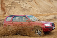 Subaru Forester. Car in sandpit Stock Images