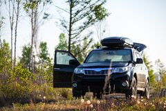 Free Subaru Forester With Roof Box At Dirt Road Stock Images - 186963934