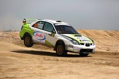 Subaru Impreza -科威特国际集会 免版税库存照片
