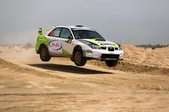 Subaru Impreza - 2012 Kuwait International Rally. SAFIR, KUWAIT - April 13: Subaru Impreza #28 Kuwaiti driver Elie Chachati and Kuwaiti co-driver Naji Sfeir Royalty Free Stock Photo