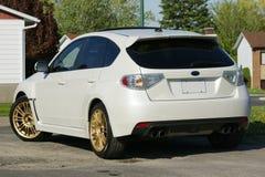 Subaru impreza. Picture of the white subaru impreza with tinted glass Stock Photography