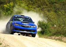 Subaru Impreza  rally Car. Teemu Arminen of Finland with Tuomo Nikkola (co-pilote) drives his  Subaru Impreza during the sixth stage of the 2010 San Crispino Stock Photos