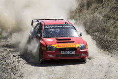 Subaru Impreza Rally Car. A Subaru Impreza Kicks up dust on the Plains Rally Stock Image