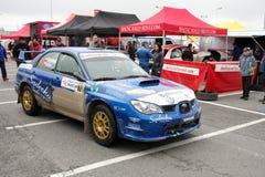 Subaru Impreza WRC dans l'arrêt de mine Photographie stock libre de droits