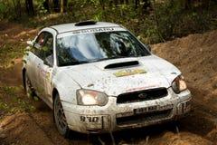 Subaru Impreza WRC emballant dans la forêt Image libre de droits