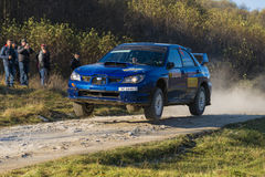 Subaru Impreza WRX STI  competes at the annual Rally Galicia Stock Image