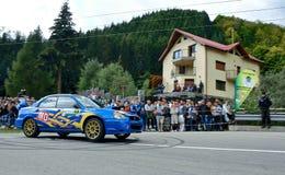 Subaru Impreza WRX STI tuning rally car. Rally car in action on asphalt. Subaru Impreza WRX STI tuning Royalty Free Stock Image