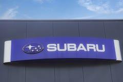 Subaru logo na fasadzie Obrazy Stock