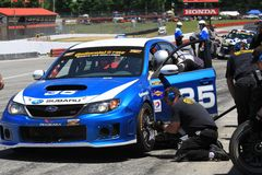 Subaru pit stop Royalty Free Stock Photos