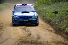 Subaru rally car on track Stock Image