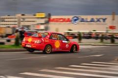 Subaru Rally car turning Stock Photo