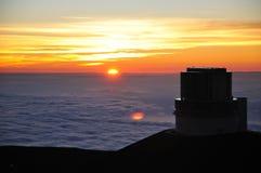 Subaru Telescope. Sunset on Mauna Kea near the Subaru Telescope Stock Photo