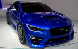 Subaru WRX at NY Auto Show. The New York International Auto Show is an annual auto show held in New York City in late March or early April Royalty Free Stock Image