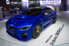 Subaru WRX at NY Auto Show. The New York International Auto Show is an annual auto show held in New York City in late March or early April Royalty Free Stock Photo