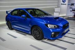 Subaru WRX STI. On display during the Geneva Motor Show, Geneva, Switzerland, March 4, 2014 Royalty Free Stock Photography
