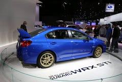 Subaru WRX STI displayed at the auto show Stock Photography