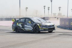Subaru WRX STi driven by #18 Patrik Sandell. San Pedro, CA - October 14, 2017: Subaru WRX STi driven by #18 Patrik Sandell during the Red Bull GRC Global Royalty Free Stock Photography