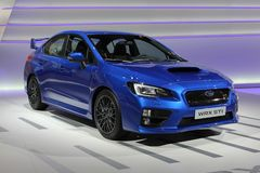 2014 Subaru WRX STI the Geneva Auto Salon. New platform offers a stiffer, more agile chassis for Subaru's global performance flagship model Stock Images