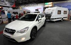 Subaru XV with a caravan Royalty Free Stock Photo