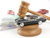 Subasta, coche y dinero del mazo Fotografía de archivo
