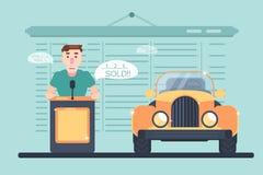 Subasta de la venta auto con el carácter libre illustration