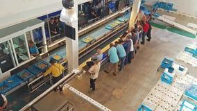 Subasta de pescado Blanes, España Envases en transportador metrajes