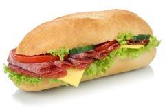 Subbaguette van de delicatessenwinkelsandwich met geïsoleerde salami Royalty-vrije Stock Afbeeldingen
