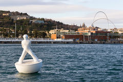 Subbuteo in Barcelona. A curious buoy in Barcelona Harbour, Spain Stock Images