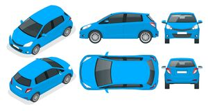 Free Subcompact Blue Hatchback Car. Compact Hybrid Vehicle. Eco-friendly Hi-tech Auto. Easy Color Change. Template Isolated Royalty Free Stock Image - 169980486