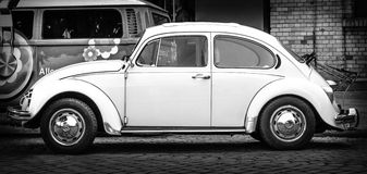Subcompact, economy car Volkswagen Beetle. Royalty Free Stock Photography