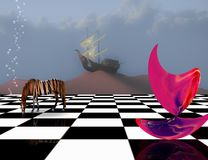 Subconscious Dreams. Surreal composition. Pink matter on chessboard, striped horse and ancient ship on sand dune vector illustration