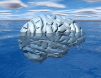 Subconscious mind concept with brain under water. Royalty Free Stock Image