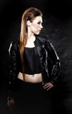 Beauty punk girl in leather, subculture Royalty Free Stock Photography