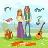 Subculture Hippie Composition Royalty Free Stock Photos