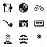 Subculture hipsters icons set, simple style Stock Images