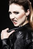 Subculture - punk female teenager screaming Royalty Free Stock Photo