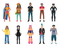 Subcultures People Icons Set Royalty Free Stock Images