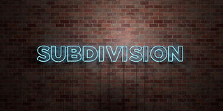 SUBDIVISION - fluorescent Neon tube Sign on brickwork - Front view - 3D rendered royalty free stock picture Royalty Free Stock Photo