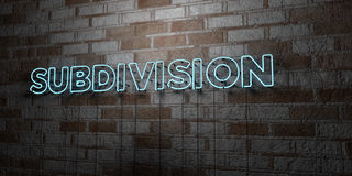 SUBDIVISION - Glowing Neon Sign on stonework wall - 3D rendered royalty free stock illustration Stock Photography